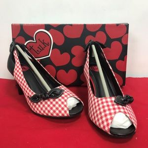 TUK Gingham Heels with Bow NIB Pinup
